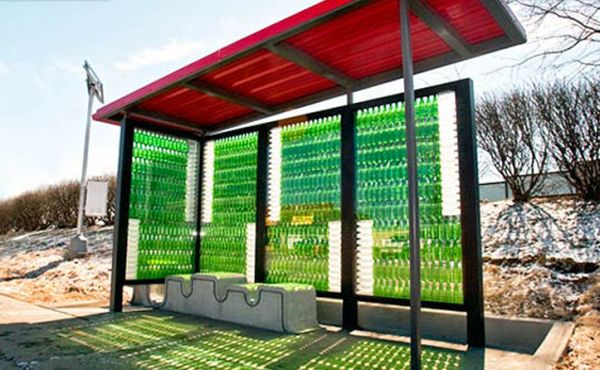 Lexington's Recycled Glass Bottles Bus Stop