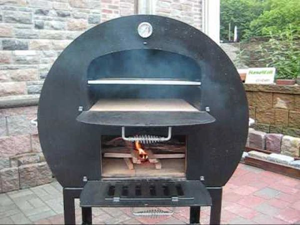 Wood fired barrel pizza oven