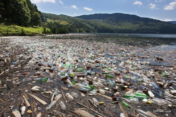 very important plastic and trash pollution on beautiful lake