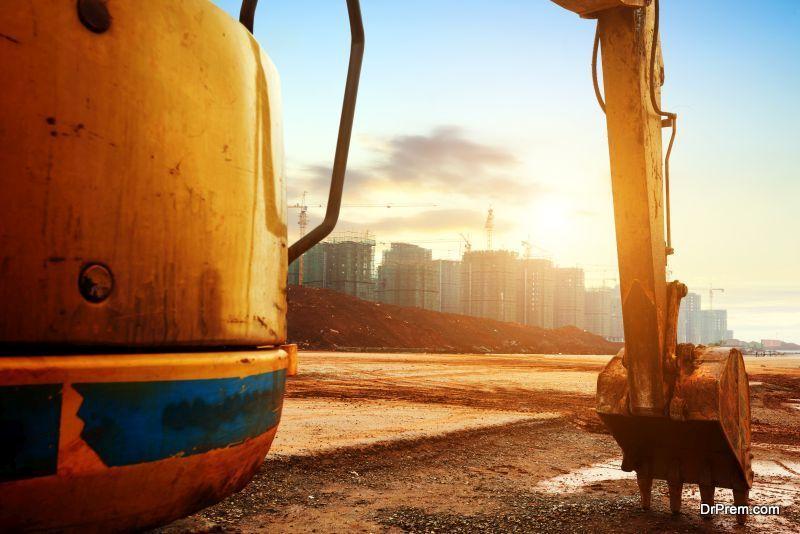 Construction site excavator