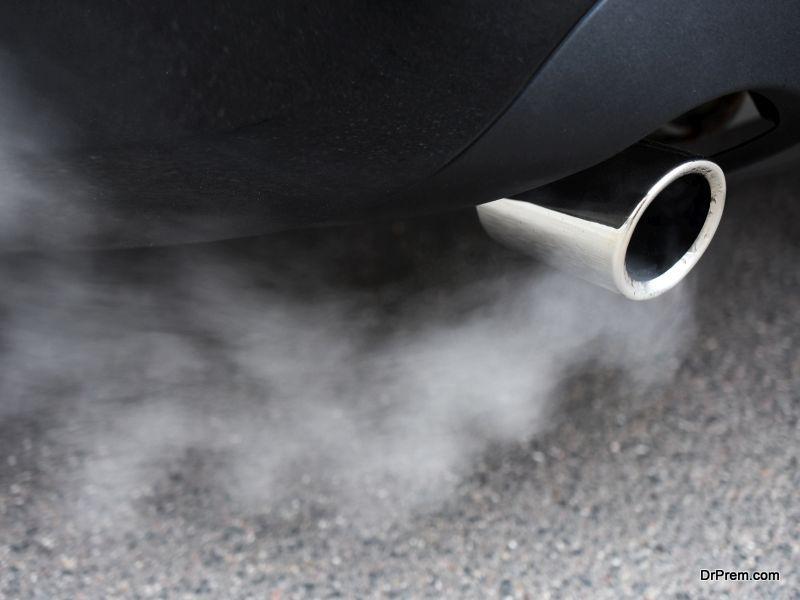 smoke-spewing car