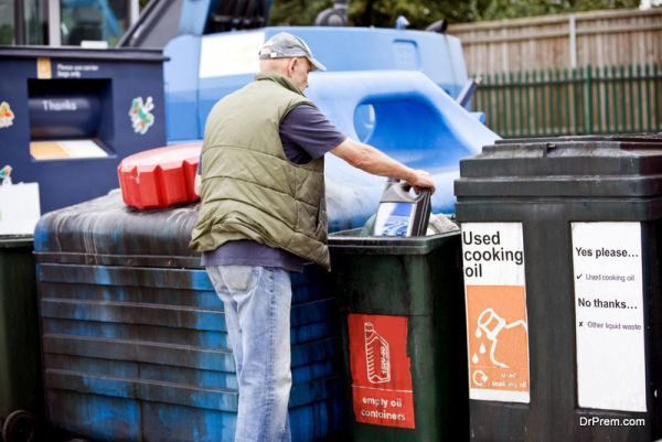 recycle empty oil containers and plastic bottles