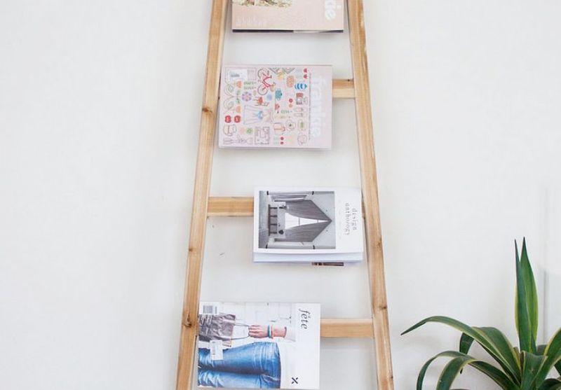 wooden ladder Magazine Rack