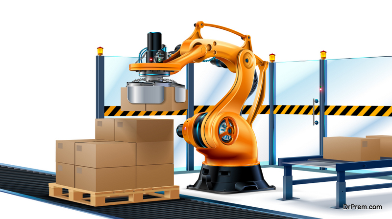 Robot Palletizing Systems, Robotic arm loading cartons on pallet.