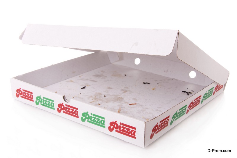 Takeaway pizza boxes