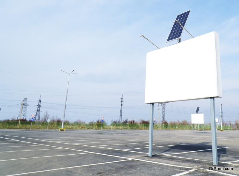digital billboard running on solar power