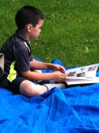 A little quiet reading time. Nature books of course!