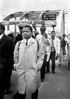 John Lewis crossing bridge 1965