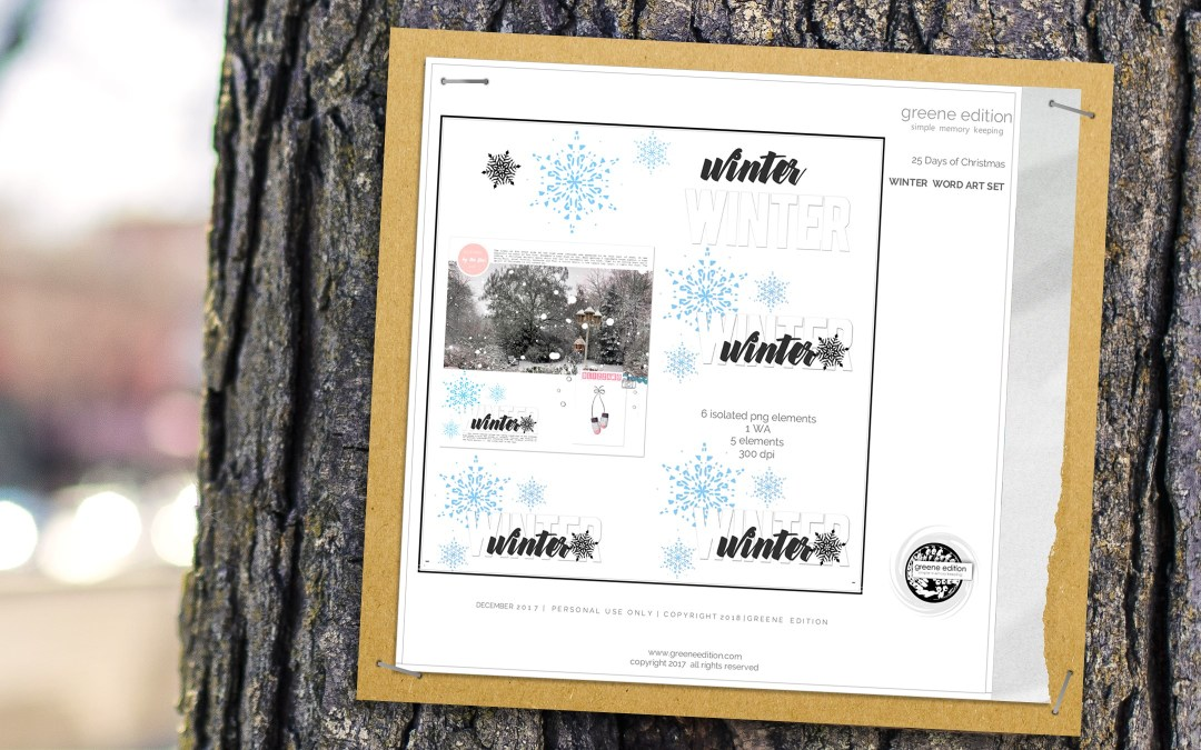 gteene edition - winter word art freebie