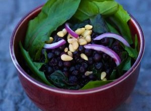 Wilted Dandelion Greens Salad with Blueberries and Pine Nuts