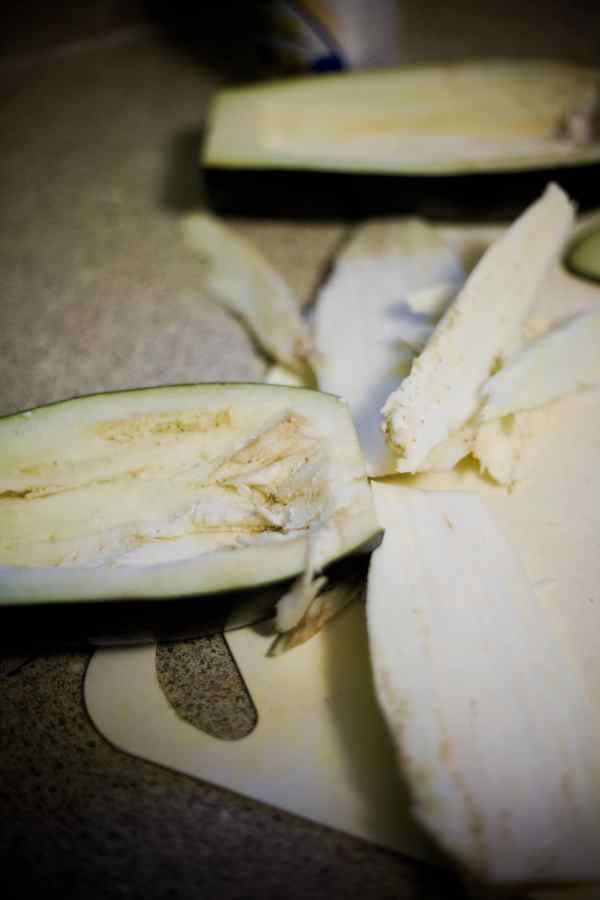 halved eggplant preparation