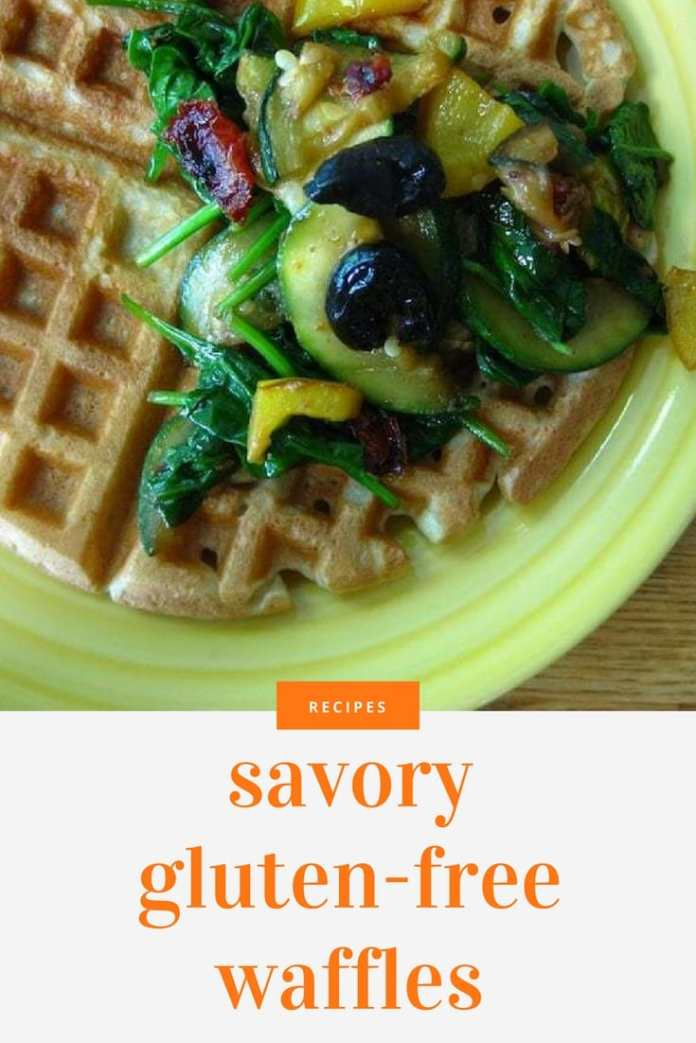 Waffles are always sweet. But, they don't have to be. And, they don't have to contain gluten either.  These waffles are easy to make and are just as fluffy and light as normal waffles. If you are partial to the berries and maple syrup, these waffles can always be served traditionally.