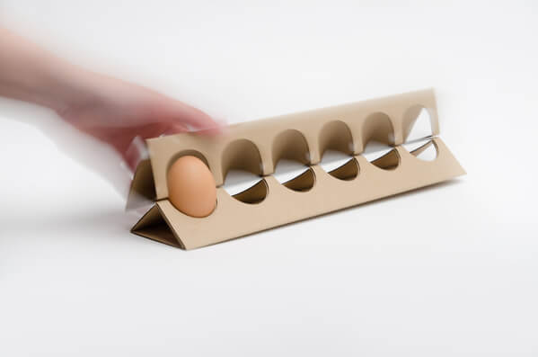 Redesigned egg carton open