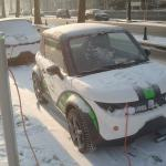 electric car in winter