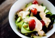 Simple Zucchini Salad with Sweet and Creamy Red Pepper Dressing banner