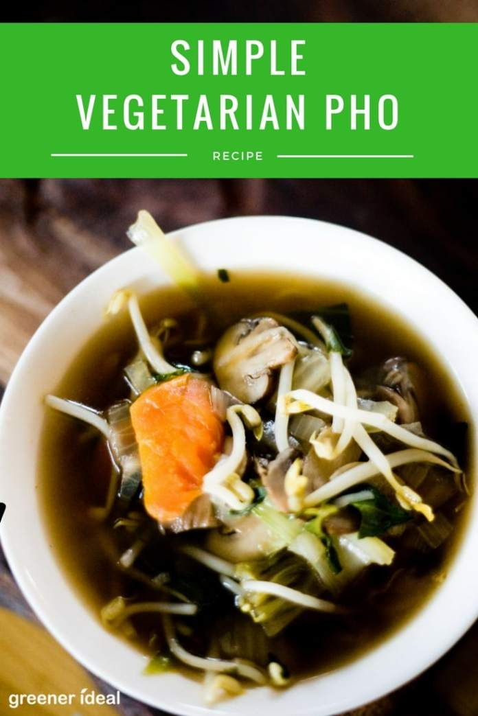 Pho is one of my favorite soups, but it can be a long and arduous process to create. A simple vegetarian alternative to this Vietnamese soup takes the essentials of this beloved broth, but greatly reduces the time needed.