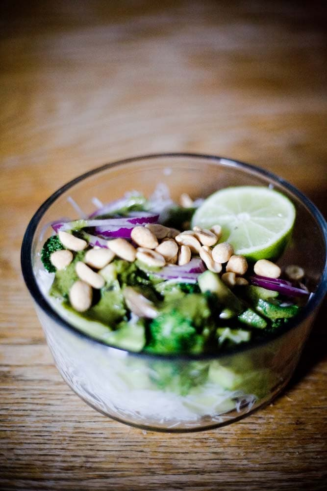 vegan asian broccoli salad from the side