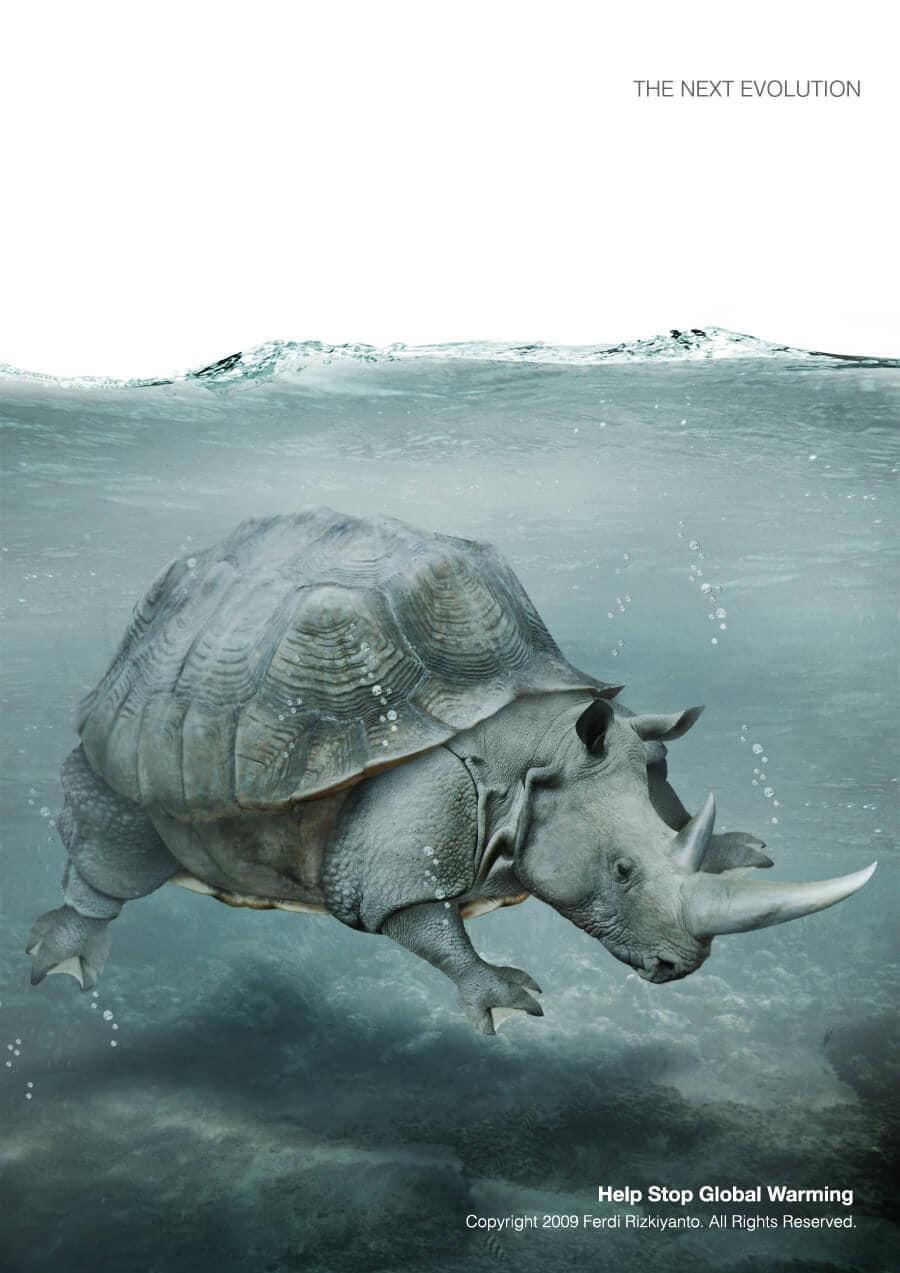 Rhino under water