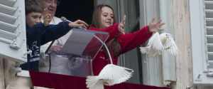 Pope Francis releasing Peace doves