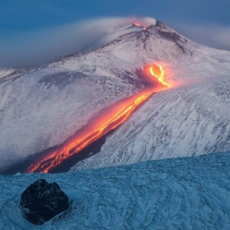 Lava flows in South East Crater, Etna, Italy