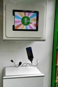 Charging station inside London's SolarBox