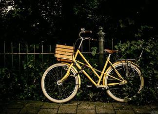 bike resting on fence