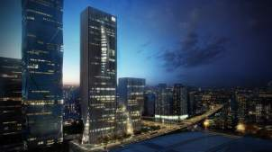 Shenzhen Energy Mansion design at Night by Bjarke Ingels Group