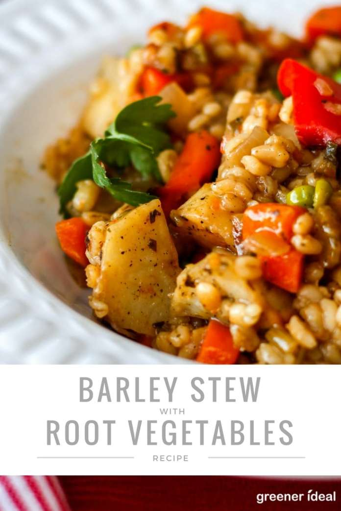 This hearty and colorful stew of barley and roasted root vegetables is almost like a chunky vegetable stew. It's great for a side dish, or a meatless meal in itself.