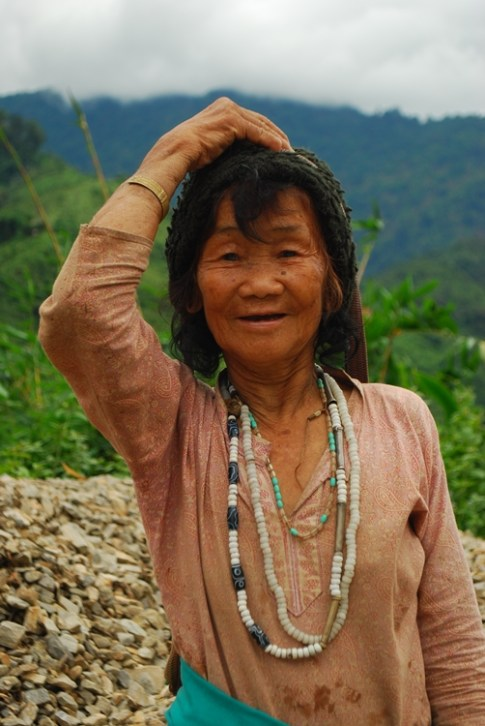Old Tagin lady with a beautiful expression
