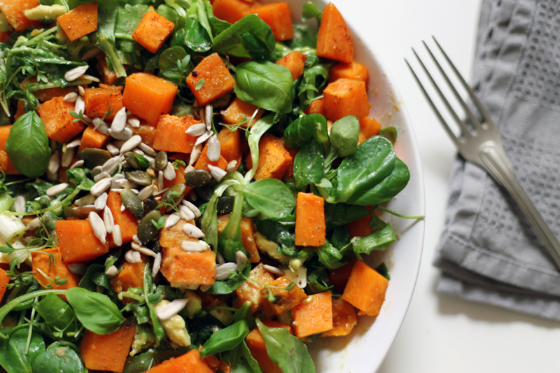 Warm Sweet Potato, Rocket and Avocado Salad with Tahini Dressing