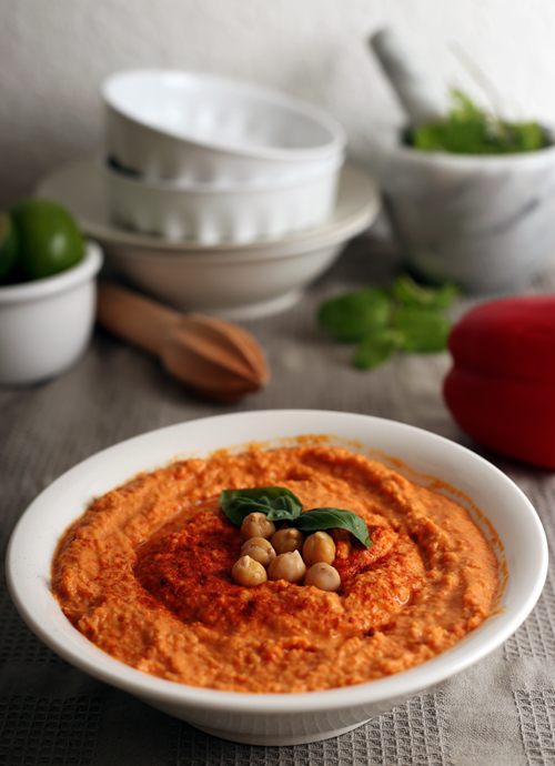 Roasted red pepper hummus green evi for Roasted red bell pepper hummus