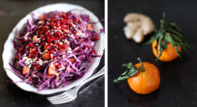 Cabbage Salad with a Mandarine, Ginger and Tahini Dressing