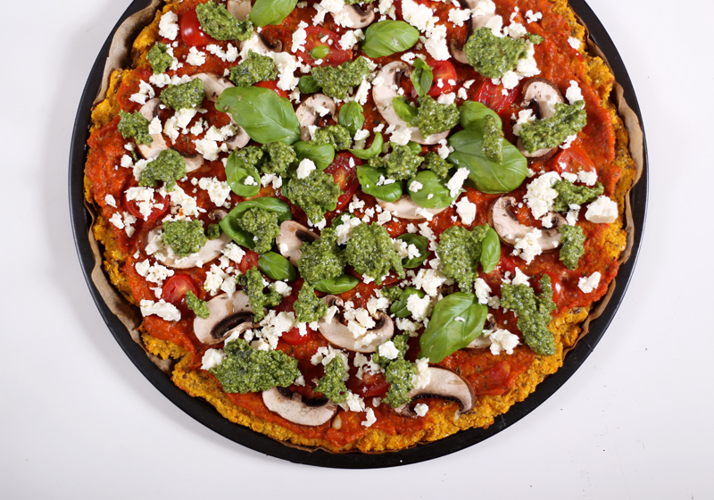 Pumpkin Pizza with Zucchini and Nuts