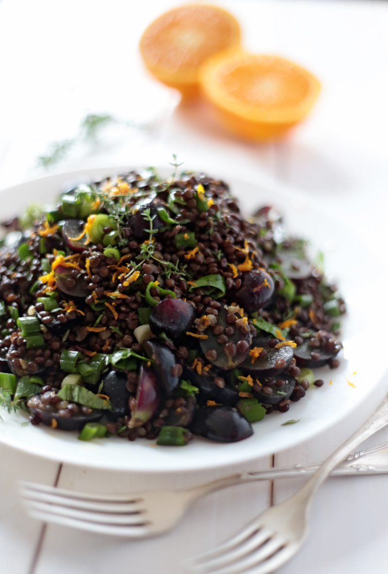 Beluga Lentil Salad with Grapes