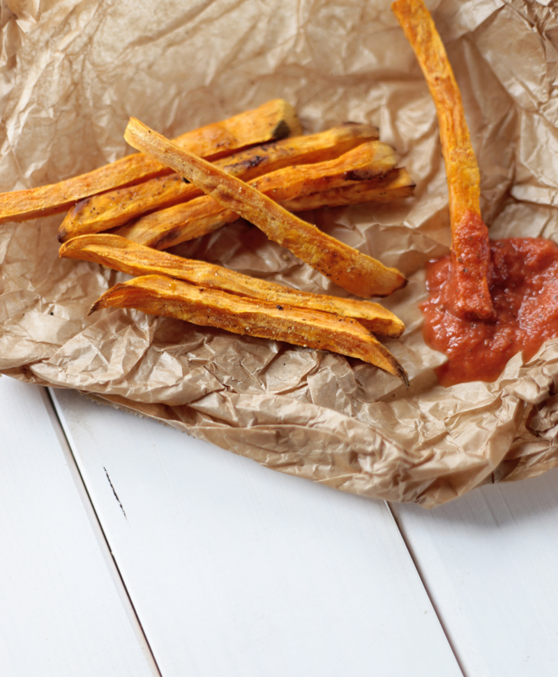 Sweet Potato Fries with Homemade Ketchup
