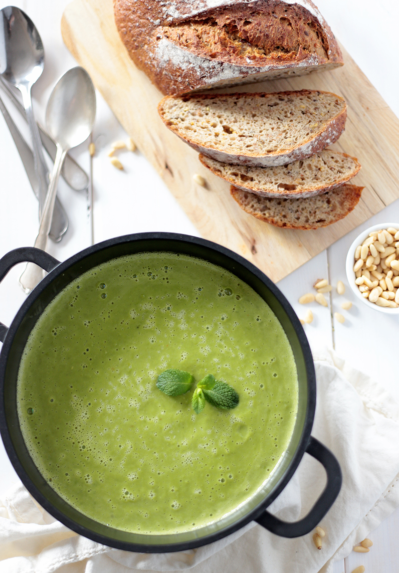 Creamy Asparagus and Pea Soup with Coconut