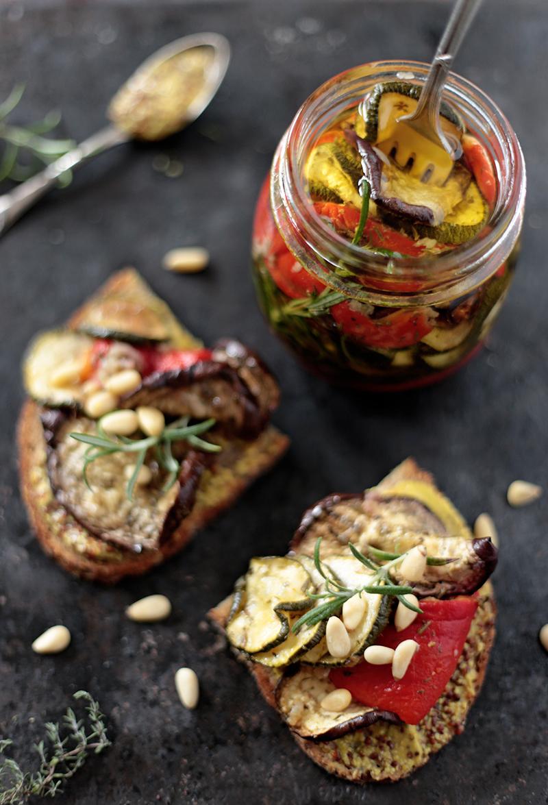 Roasted Aubergine and Zucchini Antipasti