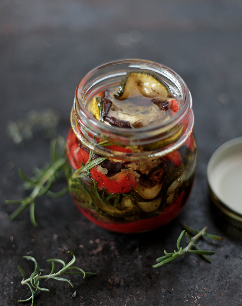 Roasted Aubergine and Zucchini Antipasti