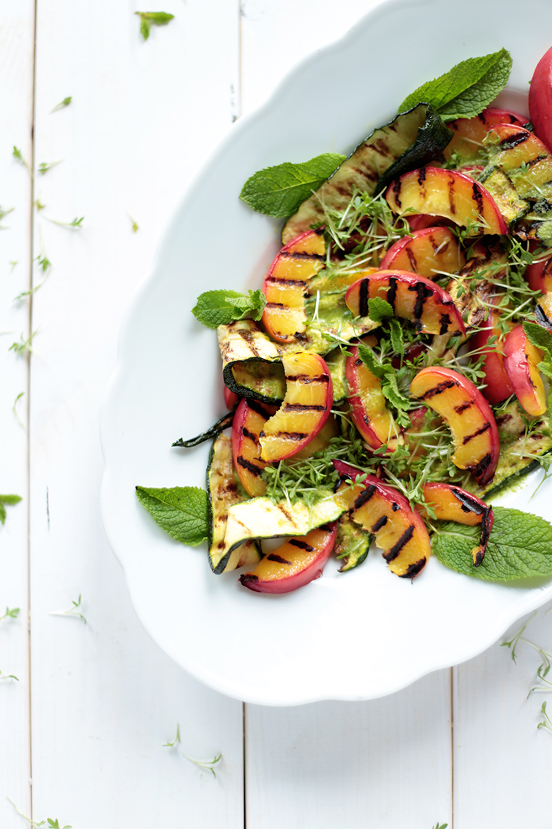 Grilled Nectarine and Zucchini Salad with Mint Dressing