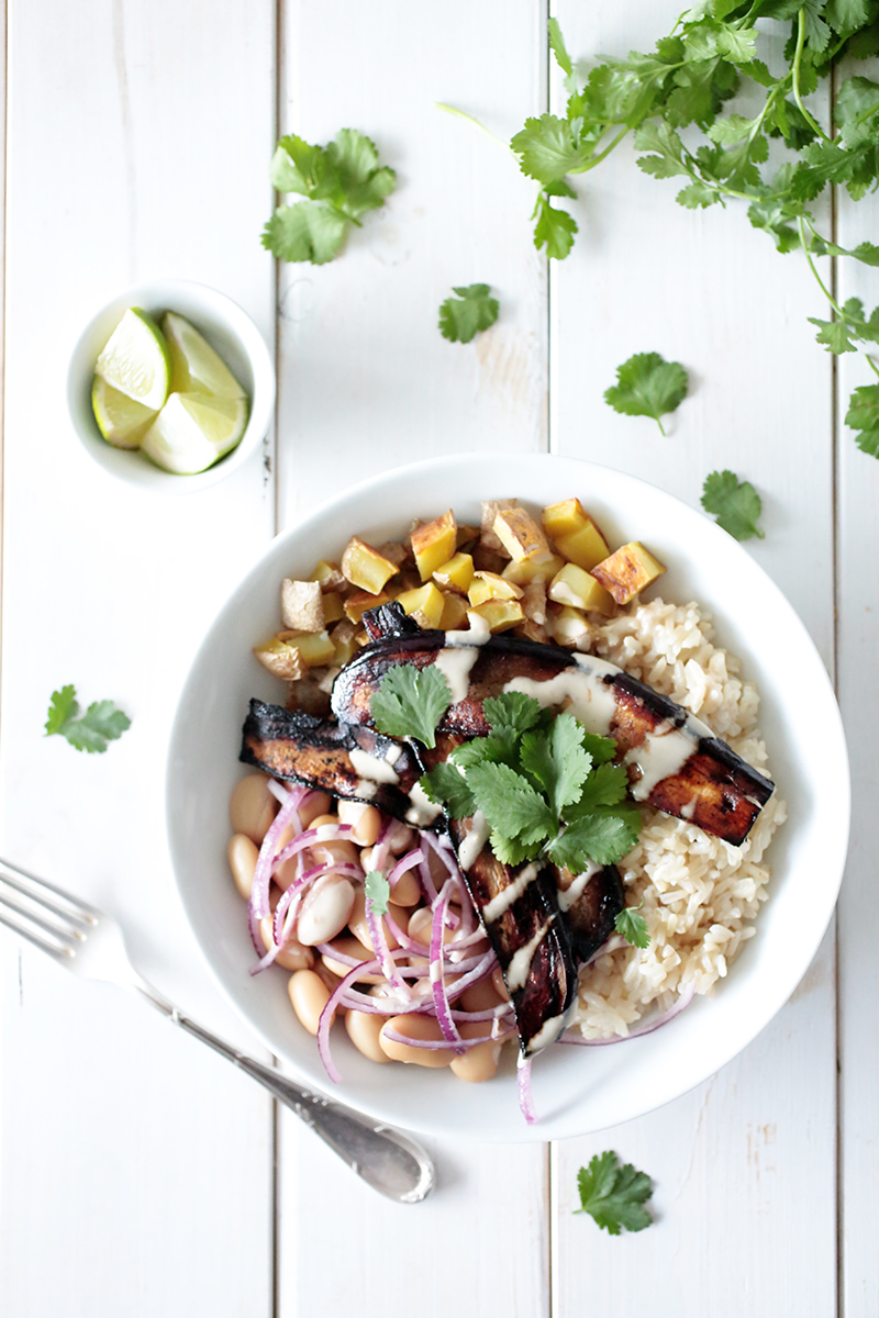 Roasted Potato & Bean Bowl with Aubergine Bacon
