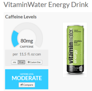 vitaminwater energy caffeine content