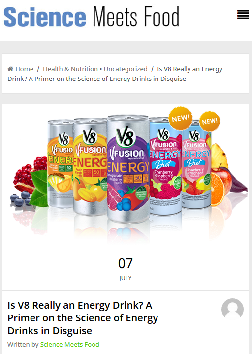 Is V8 Really Energy Drink