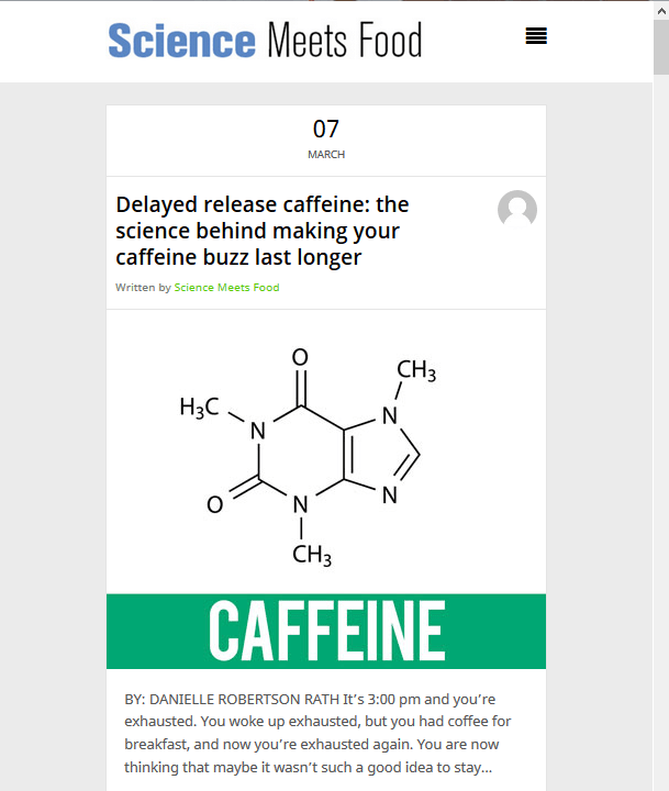 science meets food caffeine release snippet
