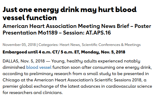 AHA News Brief - Just one energy drink may hurt blood vessel function