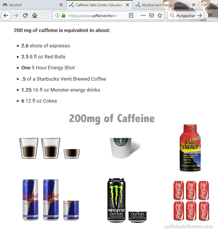 Caffeine Informer graphic showing what 200 mg caffeine looks like - 2.5 Red Bull, 1.25 cans of Monster, 6 cans of Coca-Cola, 2.5 cups of coffee.