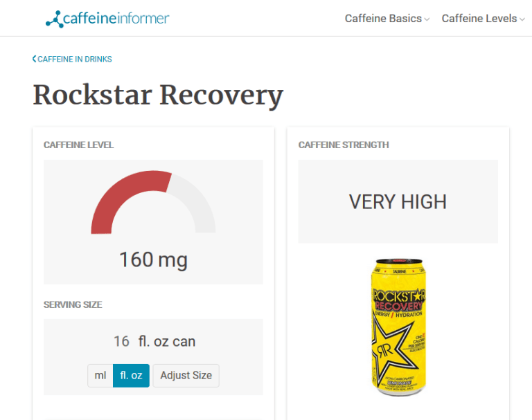 caffeine informer picture of rockstar recovery with 160mg caffeine