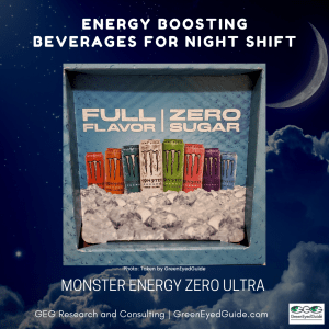 What should I drink on night shift - energy boosting beverage Monster Ultra Zero