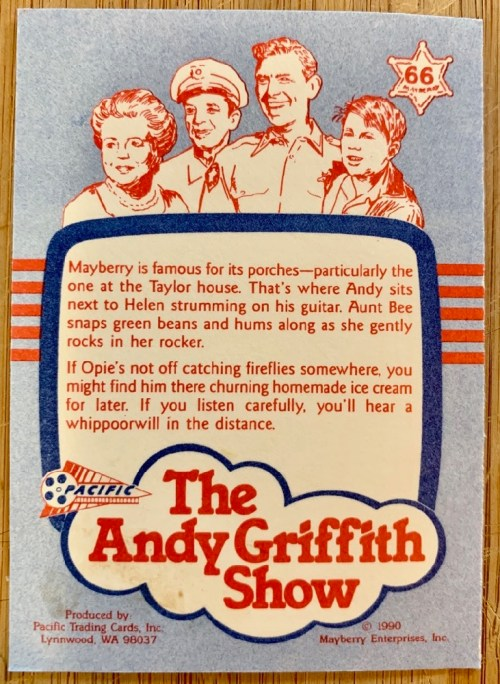 Andy Griffith Show trading card back view