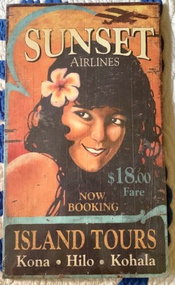 Sunset airlines wood sign