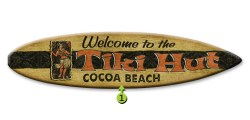 welcome to the tiki hut surfboard wood sign 12x44
